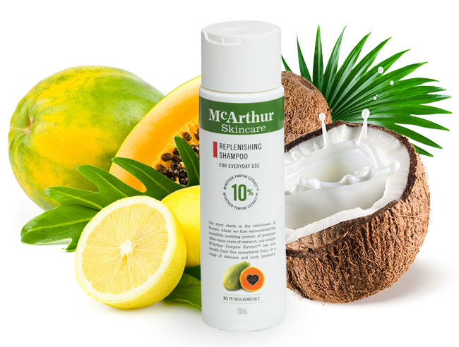 McArthur Skincare's Replenishing Shampoo Natural Ingredients