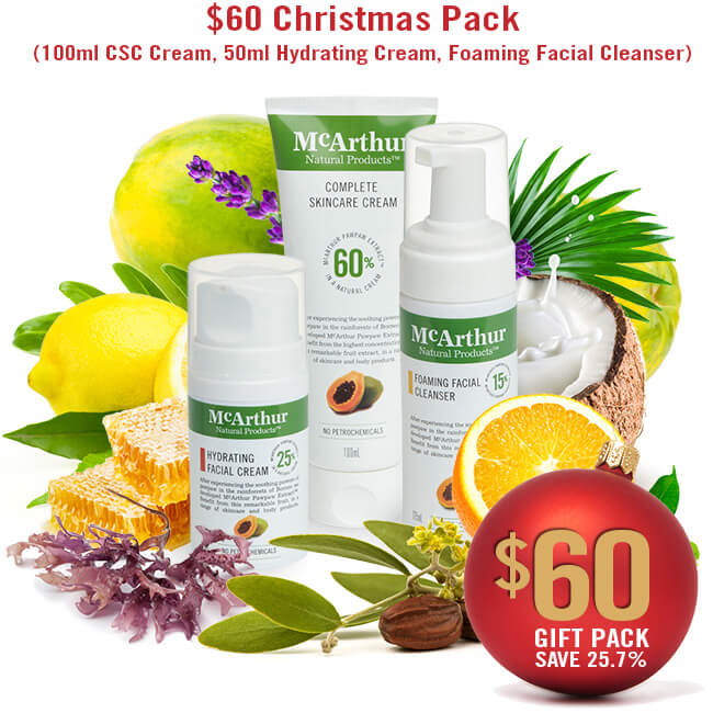 $60 Christmas Pack (100ml CSC Cream, 50ml Hydrating Cream, Foaming Facial Cleanser)