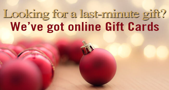 We've got online Gift Cards for Christmas
