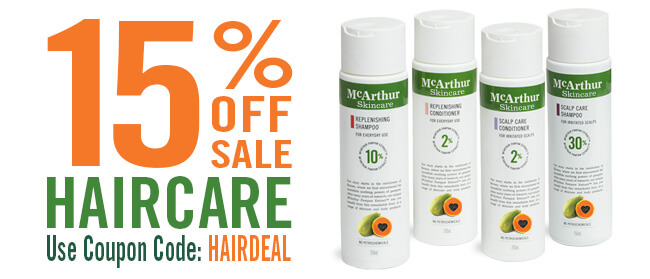 SAVE 15% OFF McArthur Skincare Haircare Range