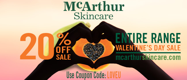 We love our McArthur Skincare 20% OFF Valentine's Day Sale