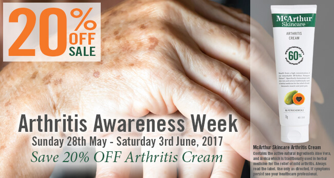 Arthritis Awareness Week – 20% OFF McArthur Skincare Arthritis Cream